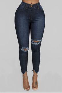 Fashion Nova Blue Distressed Jeans