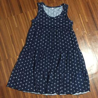 Kids dark blue sleeveless  dress with ribbons