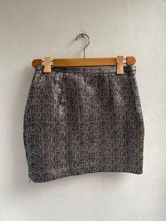 Monki silver mini skirt