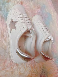 payless trash white shoes