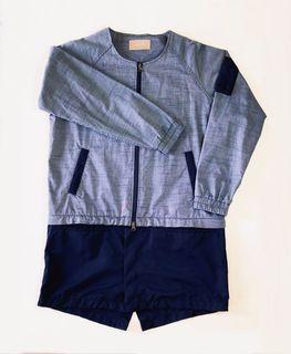 正品Plain-me 灰藍色風衣外套 兩件式 雙拉鍊 下擺丈青色可拆  M L