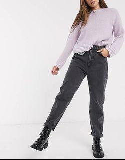 PULL&BEAR washed gray  mom jeans