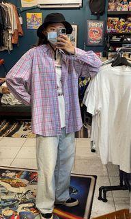 Polo Ralph Lauren粉紫色格紋小馬襯衫 古著 二手選物 Vintage