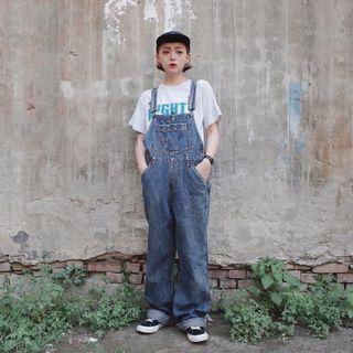 美式深藍水洗工作吊帶褲 古著 二手選物 Vintage