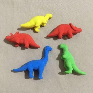 Rubber dinosaur erasers set (unused)