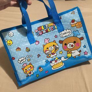Small blue cartoon reusable / eco / grocery / storage bag with zipper