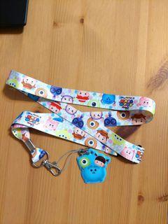 迪士尼 tsum tsum 吊牌 掛繩 毛怪 玩具總動員