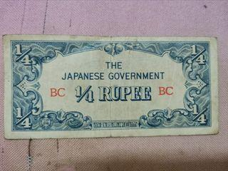 1942 Burma  Japanese Occupation 1/4  Cents  Banknote