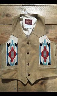 70s 80s 古著 美製 真皮 麂皮 印地安 背心