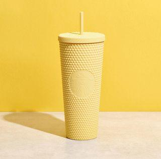 🆕 Starbucks Limited Edition Butter Yellow Studded Cold Cup