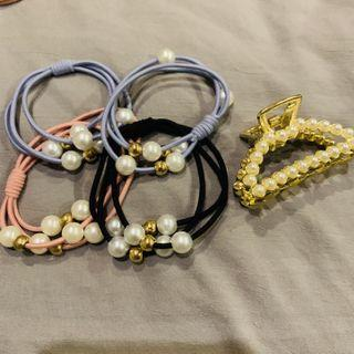 Bundle Sale! Pearl Hair Ties and Claw Clip