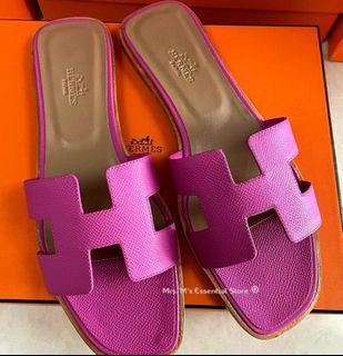 ☆DUBAI PRE-ORDER☆ Auth H Oran Sandals in rare Hot Pink Epsom Leather