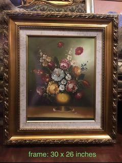European Oil on Canvas Painting - Flowers 30 x 26 inches Gold Frame