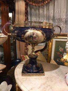 French Cobalt Blue Centrepiece 16 inches  Bowl Porcelain with Brass