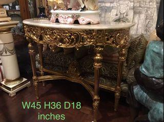 Italian Gold Console Table with Marble Top