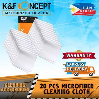 K&F Concept 20pcs Microfiber Cleaning Cloth Kit, 15X15cm White Dry-in Vacuum Wrapped for Camera Lens | Juan Gadget
