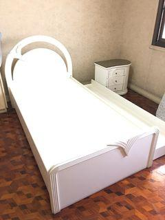 kids wooden single bed pullout bed and side table