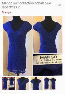 MANGO cobalt blue lace dress