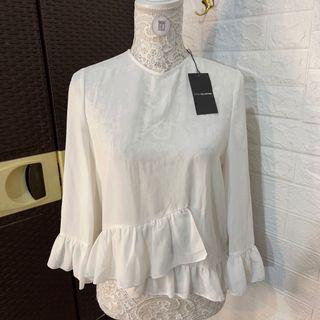 New Sfera Collection White Belle Sleeves Top