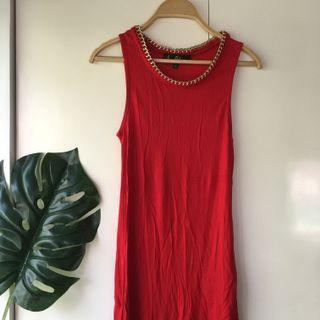 Sam Edelman Red with Gold Neck sleeveless