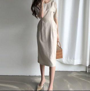 杏色棉麻 素面綁帶 側小開衩 氣質長裙  #斷捨離