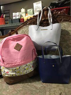 Authentic Japan Snoopy Backpack, Jill Stuart Shoulder, Luria Italy Bag Set Of 3 For