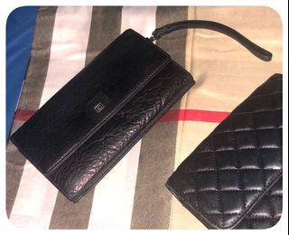 Black Tri Fold Wristlet Clutch/Wallet
