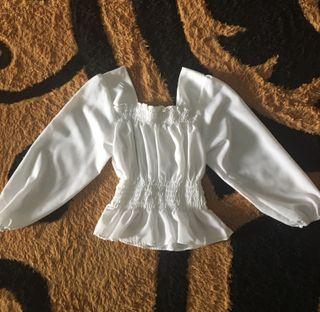 blouse sabrina putih
