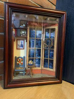 Miniature Reading Room - enclosed glass display