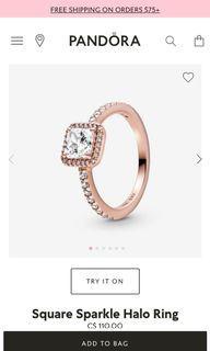 Pandora rose gold square halo ring