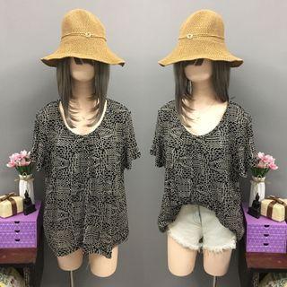 Plus size black printed blouse (size:2x)