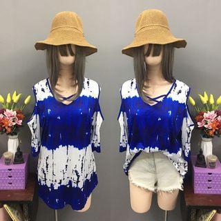 Plus size blue boho bakuna blouse (size:2x-3x)
