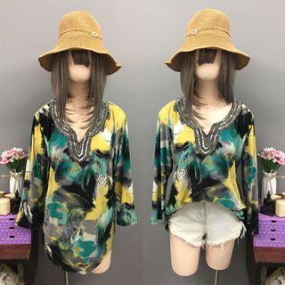 Plus size green boho blouse (size:xL-2x)