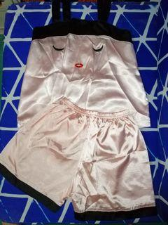 Terno peach silk sleepwear