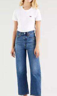 BNWT Levi's ribcage straight leg ankle jeans 26Wx 27L dark indigo Noe Fog