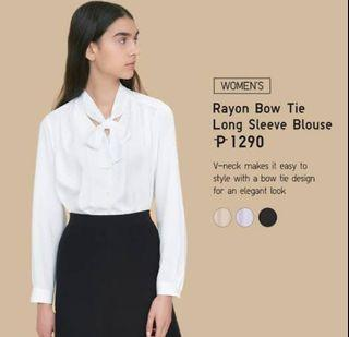 BNWT UNIQLO Rayon Bow Tie Long Sleeves Blouse