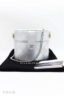 CHANEL AP1573 Mini Vanity Case 銀灰色菱格車線小羊皮 銀色CC Logo 化妝箱形 側肩袋 斜揹袋 手袋
