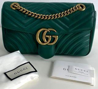 ☆IN TRANSIT FROM DUBAI☆ Authentic Gucci Small Marmont Flap in Emerald Green