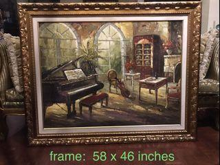large Classic European Oil on Canvas Painting  in Gold Frame 58 x 46 inches