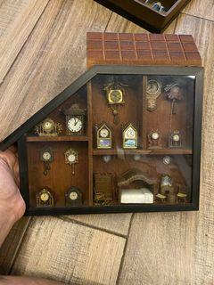 Miniature grandfather clocks glass display