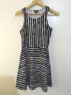 Original H&M Womens Black White Striped Dress Size Small