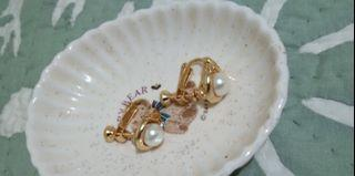 Pearl With Stones Clip Earrings