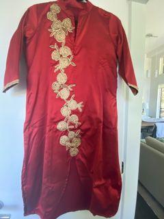 Red tunic summery dress