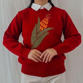 Sweater jagung merah lucu graphic knit