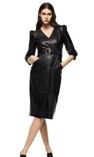 ZARA FAUX LEATHER BELTED DRESS BLACK S