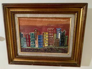"""19""""x15"""" Vintage City Watercolor Painting"""