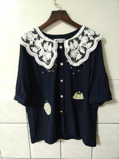 (二手)正韓蕾絲領小香風深藍襯衫