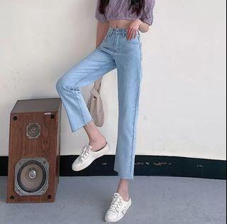 韓風牛仔褲 高腰薄款 毛邊直筒褲 淺藍#斷捨離