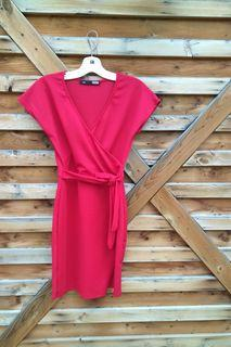Like New Red wrap front dress (sz s)