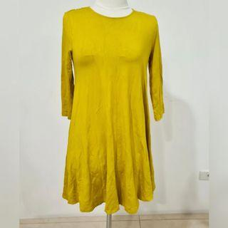 marks and spencer yellow long sleeve dress